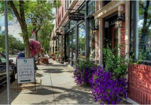 sidewalk and store